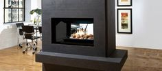 Marquis Fireplaces is pleased to introduce the new multi-sided Gemini, the perfect solution as a dramatic room divider or corner focal point in a great room. This Zero Clearance Direct Vent See Through Gas Fireplace is available for propane. Home Fireplace, Living Room With Fireplace, Fireplace Design, Gas Fireplaces, Indoor Fireplaces, Fireplace Ideas, Restaurant Fireplace, Modern Fireplaces, Kingsman Fireplaces