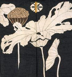 arsvitaest:  Jacket with design of lotuses [detail] Origin: JapaneseDate: Early 19th centuryMedium: Resist-dyed and painted plain-weave bast fiberLocation: The Metropolitan Museum of Art, New York
