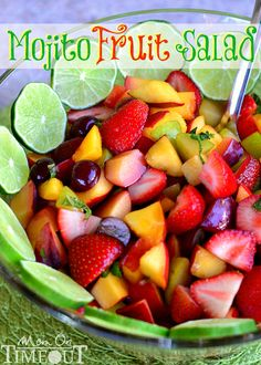 Mojito Fruit Salad Ingredients 8 cups fresh fruit, chopped (nectarines, peaches, strawberries, blueberries, kiwi, grapes, melon, plums, pluots, etc.) 3/4 cup granulated sugar 1/4 cup water 1/2 lime juice OR 1/4 cup lime juice and 1/4 cup rum 2 Tbls fresh mint, chiffonade