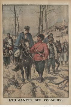 World War I Cossacks lending horses to ill prisoners and injured Austrian soldiers Illustration from French newspaper Le Petit Journal July Imperial Russia, World War I, Wwi, First World, Horses, History, Illustration, Painting, Newspaper