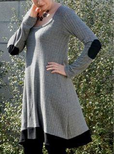 Modern Handmade: Herringbone Deer and Doe Plantain (tshirt) Swing Dress (Free pattern) top made into tunic