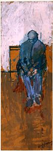 David Hockney-oil on harboard, Seated Man, 1955