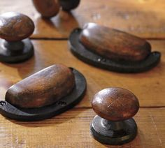 I really love these. Cast iron and wood that resembles leather. Really nice.