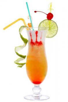 Hurricane Suzy (Tablespoon Grenadine  Tablespoon Sugar Syrup  1/2 oz Lime Juice  1 oz Orange Juice  2 oz Passionfruit Juice  2 oz Dark Rum  2 oz White Rum)