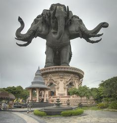 Erawan Museum by krashkraft, via Flickr Ban Bang Na, Phra Khanong, Bangkok, Thailand ....Erawan Museum (พิพิธภัณฑ์ช้างเอราวัณ) is a museum in Bangkok. It is well known for its giant three-headed elephant art display. The three storeys inside the elephant contain antiquities and priceless collections of ancient religious objects belonging to Kun Lek Viriyapant who is the museum owner.