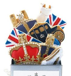 Seriously awesome British royalty themed cookies Wedding Red, White and Blue themed Wedding.