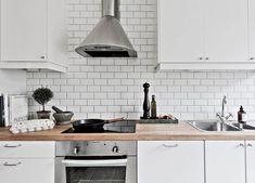Majorna Apartment - metro tiles as kitchen backdrop