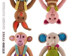 Amigurumi PATTERN animal, 4 small BOYS crochet doll clothes, elephant, monkey, pig, bunny, rabbit pdf