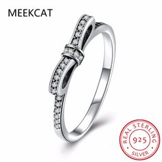 MEEKCAT Authentic 100% 925 Sterling Silver Sparkling Bow Knot Stackable Ring Micro Pave CZ Compatible With WOS Jewelry 7104 #Affiliate