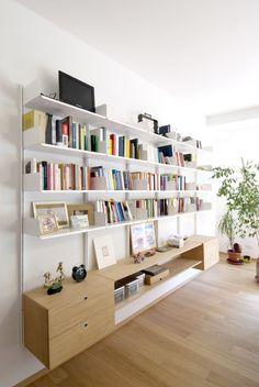 K1 | Libreria By KRIPTONITE Living Room Storage, Wall Storage, Wardrobe Shelving, Bookshelves, Bookcase, Long Walls, Metal Shelves, Living Furniture, Home Office