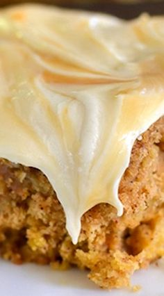 Salted Caramel Pumpkin Oatmeal Cake ~ Soft pumpkin oatmeal cake topped with a salted caramel frosting. Perfect fall dessert!