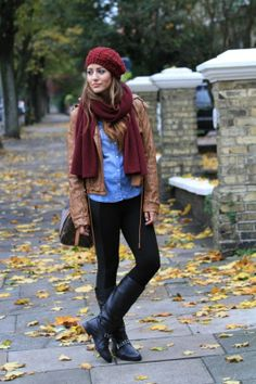 burgundy beanie and burgundy scarf are perfect for staying warm <3 Shop this look at @SPARKTREND, click the image to see! #outfits