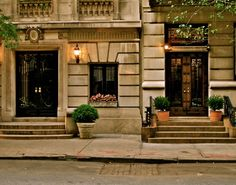 Limestone townhouse entryways, Upper East Side, NY