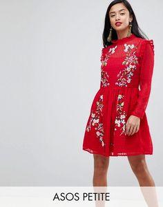 ASOS Petite | ASOS PETITE Pretty Embroidered Mini Dress on Dobby