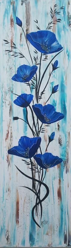 """In blue acrylic portray on canvas By Raffin Christine Fb: The star of Chris Supp Arte Pallet, Pallet Art, Acrylic Painting Canvas, Acrylic Art, Canvas Art, Watercolor Techniques, Painting Techniques, Painting Inspiration, Flower Art"