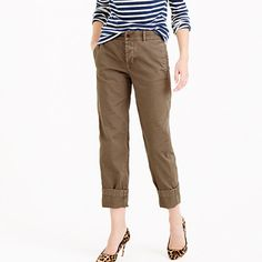 """Chinos you don't have to borrow from his closet. We gave them a slouchy, cool-girl fit (read higher rise and cropped length) and washed them over and over again, so they have that perfect beat-up, loved-and-worn look. <ul><li>Sits at hip.</li><li>Relaxed through hip and thigh, with an easy, straight leg.</li><li>27"""" inseam.</li><li>Cotton.</li><li>Side-seam pockets, back welt pockets.</li><li>Machine wash.</li><li>Import.</li><li>Online only.</li></ul>"""