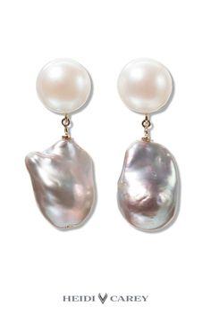 Handmade Grey Baroque Pearl Drops by Heidi Carey.