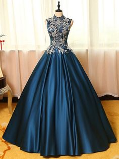Ball Gown High Neck Satin Tulle Appliques Lace Floor-length Noble Prom Dresses