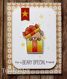 card with critters bear MFT Beary Special Birthday Stamp Set Die-namics #mftstamps gift Blueprints Diary of an Inky Girl…: Beary Special Birthday - 3 cards