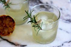 Charred Lemon Gin Sparkler: gin, charred lemon juice, simple syrup, rosemary, champagne