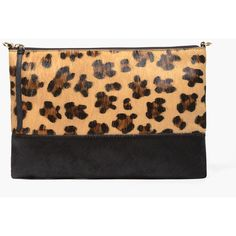 Chico's Kathleen Bag ($35) ❤ liked on Polyvore featuring bags, handbags, clutches, leopard, real leather purses, leopard print purse, genuine leather purse, color block leather handbags and leather clutches
