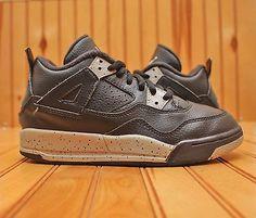 Nike Air Jordan 4 IV Retro Size 1Y - Black Grey Cement - 707430 003