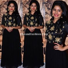 Reshmi Menon in floor length black anarkali at Urumeen Audio Launch