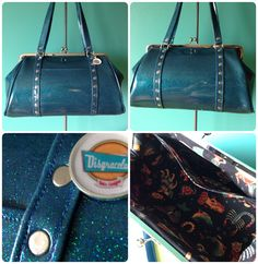 Blue-green glitter kisslock purse with traditional tattoo lining by Disgraceland.