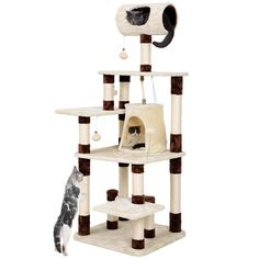 SONGMICS Cat Tree Condo Multi-Level Kitty Tower Play House with Tunnel and Scratching Post Brown and Beige UPCT55Z ** Check out this great product. (This is an affiliate link and I receive a commission for the sales) #Cats