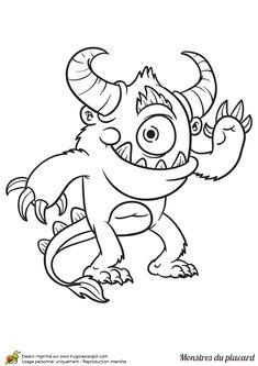 Un joyeux petit monstre à un œil à colorier.