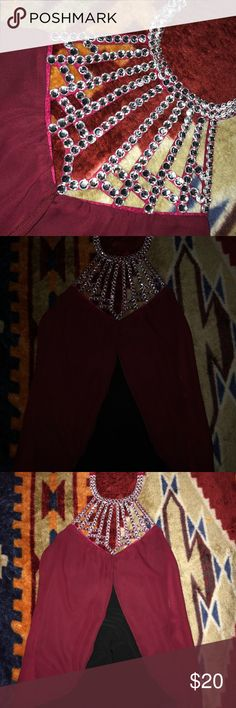 Jeweled fancy top Maroon and black top  Never worn  Jewels around the neck and chest Tops
