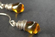 Amber Earrings. Glass Earrings. Dangle Earrings. Wire by Gilliauna, $20.00
