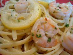 Linguine with Shrimp Scampi and Steamed Asparagus @mels kitchen cafe