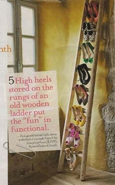 Upcycle a Wooden Ladder into a Shoe Rack - fun and decorative way to display shoes.