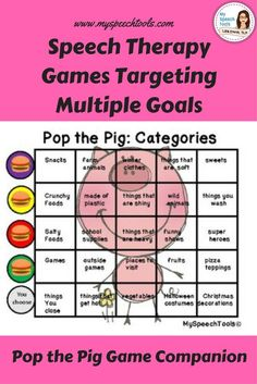 "do your speech therapy students love to play games? Are you looking to adapt games for speech therapy? ""Pop the Pig"" is a fun dice game. You feed the pig and watch his tummy grow waiting for it to pop. Included i the product is multiple speech and languag"