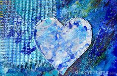 Pintura abstracta azul con él