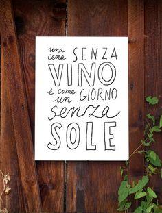 """Tipografía imprimir VINO - alta calidad vélin - 11 """"x 15 - archival fine art giclée impresión"""
