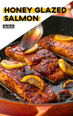 Garlic Glazed Salmon Add this Honey Glazed Salmon to your must-make list ASAP. Get the recipe at .Add this Honey Glazed Salmon to your must-make list ASAP. Get the recipe at . Fish Dinner, Seafood Dinner, Fish Ideas For Dinner, Baked Salmon Recipes, Oven Baked Salmon, Skin On Salmon Recipes, Fried Fish Recipes, Tilapia Recipes, Pan Seared Salmon