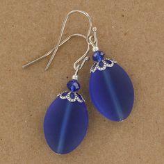 Sadie Green's Cobalt Sea Glass Earrings