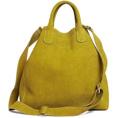 Brooks Brothers Calfskin Suede Shopper ($199) ❤ liked on Polyvore featuring bags, handbags, tote bags, purses, green, shopping bag, yellow handbag, suede purse, green suede handbag and brooks brothers