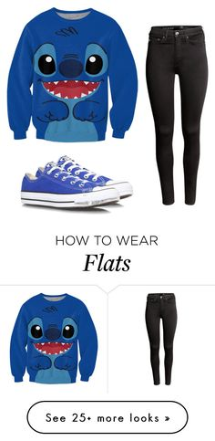 """Stitch"" by you-shine-like-gold on Polyvore featuring H&M, Converse, Blue, Sweatshirt and stitch"