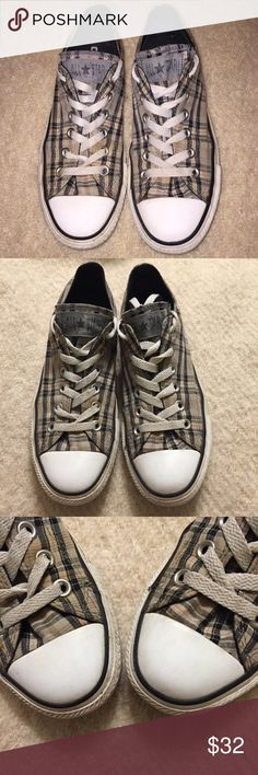 Grey plaid Converse all stars Unisex. Women's size 7, men's size 5. Great used condition. Structurally sound! Alway on trend. Neutral plaid is so versitile. Rock it! Bundle for personal discount offer, no obligation to buy. 🚫NO TRADES Converse Shoes Sneakers