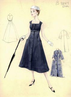 Коллекцияэскизов из архива шикарного нью-йоркского универмага Bergdorf Goodman представляет моделидневных платьев и ансамблей от самых именитых дизайнеров,…