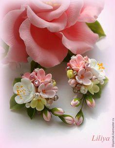 """Купить Серьги """" Яблоня в цвету-2"""" - бледно-розовый, серьги ручной работы"""
