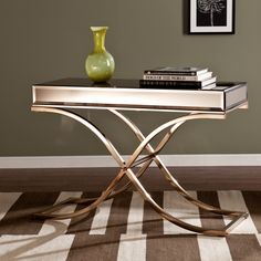 Upton Home Annabelle Champagne Mirrored Sofa/ Console Table   Overstock™  Shopping   Great Deals On Upton Home Coffee, Sofa U0026 End Tables