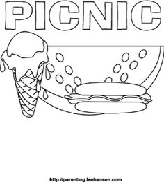 Lets go on a picnic mini book from for Picnic scene coloring page