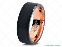 Black Tungsten Ring Rose Gold Wedding Band Ring Tungsten Carbide 7mm 18K Tungsten Ring Man Wedding Band Male Women Custom Anniversary Size
