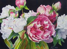 13-05 Grandmother's Peonies by Tanis Bula Watercolor ~ 21 x 29