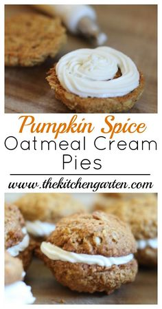 Healthy whole grain oatmeal cookies with sweet cream cheese frosting between makes for a perfect fall dessert!