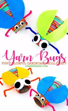 Cardboard Roll Yarn Wrapped Bugs Craft is part of Paper plate crafts for kids - Our Cardboard Roll Yarn Wrapped Bugs Craft are the best kind of bugs They're colorful, they're googly eyed, and they can't really fly My kind of bug Toddler Crafts, Preschool Crafts, Kids Crafts, Craft Projects, Cardboard Crafts Kids, Children's Arts And Crafts, Arts And Crafts For Kids Toddlers, Preschool Food, Craft Kids